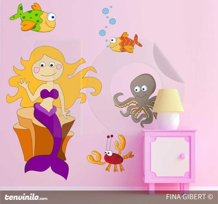 Muursticker kind zeemeermin zeedieren