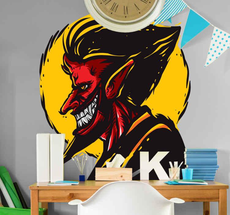 TENSTICKERS. ヴィンテージ手品悪魔ハロウィーンウォールステッカー. 装飾的な手品悪魔ハロウィーンデカール。あらゆる平面に適用でき、必要なサイズで利用できます。