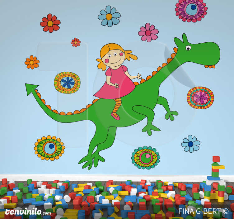 TenStickers. Dragon and Flowers Wall Stickers. Wall Stickers - Gibert Fina illustration of a girl on a dragon surrounded by flowers.