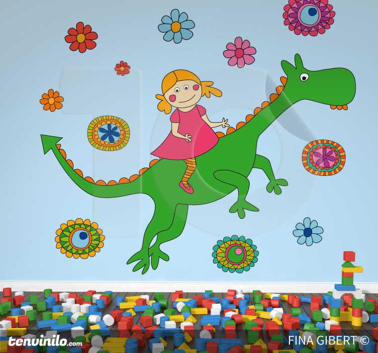 TenStickers. Adesivo bambini drago gentile. Sticker decorativo che raffigura una bimba a cavallo di un drago sotto un cielo di fiori. Basato su un disegno originale di Fina Gibert.