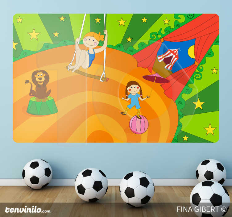 TenStickers. Naklejka dekoracyjna cyrk w domu. Naklejka dekoracyjna przedstawiająca namiot cyrkowy, huśtającą się akrobatkę na trapezie, lwa na podium i dziewczynkę próbującą złapać równowagę na piłce.