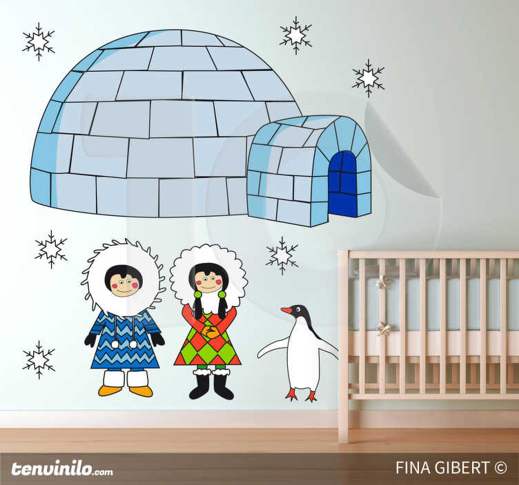 TenStickers. Adesivo cameretta eskimo land. Sticker decorativo che raffigura un pinguino, due eskimesi ed il loro tipico igloo. Ideale per decorare la cameretta dei piccoli. Un disegno originale di Fina Gibert.