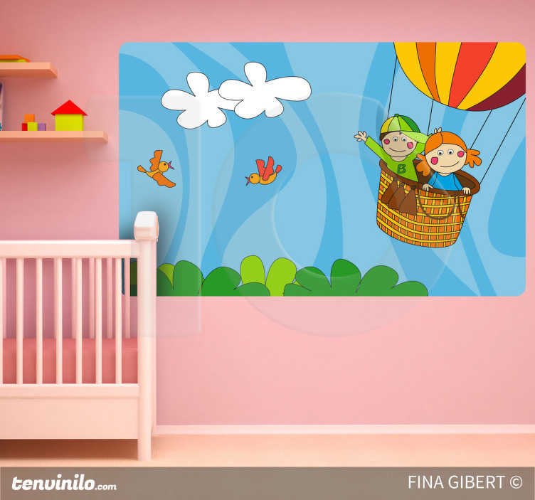 TenStickers. I'm Flying Kids Sticker. An original wall mural designed by Fina Gilbert. An illustration of two kids having fun flying in a hot air balloon.