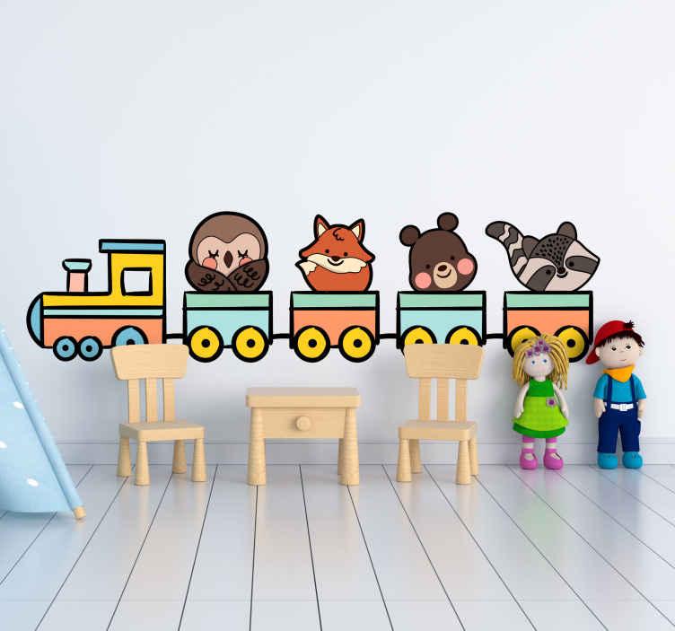 TENSTICKERS. 素敵な動物列車イラスト壁アート. 子供のための楽しいイラストスティッカーをお探しですか?さまざまな動物を運ぶこの素晴らしい列車のデザインがあります。どのサイズでもご利用いただけます。