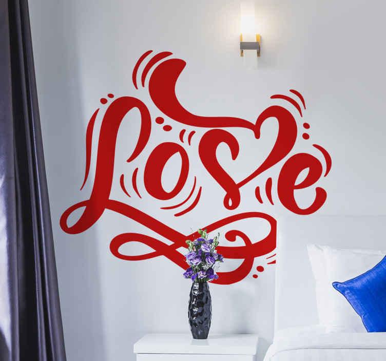 TENSTICKERS. かわいい愛の寝室の引用愛の壁のステッカー. あなたのスペースを飾るために見逃したくないスタイリスト愛テキストステッカーデザイン。このデザインは、さまざまな色のオプションで利用できます。