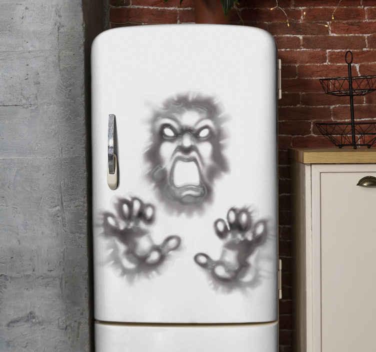 TENSTICKERS. 壁の悪魔ハロウィンウォールステッカー. 壁から悪魔を引っ張るデザインの装飾的なハロウィーンの冷蔵庫デカール。適用が簡単で高品質です。