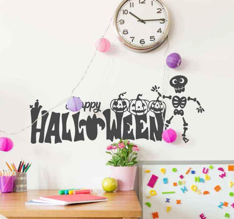 TenVinilo. Vinilo Halloween frase calabazas bailando. Vinilo frase de Halloween con calabazas bailando ideal para habitación infantil o lugar ambientado para niños ¡Envío a domicilio!