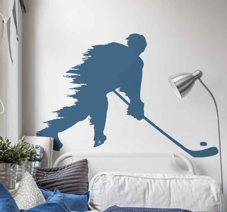 TenVinilo. Vinilo habitación juvenil jugador hockey tirando. Vinilo habitación juvenil con diseño de silueta de jugador de hockey sobre hielo. Elige el color y las medidas ¡Envío a domicilio!