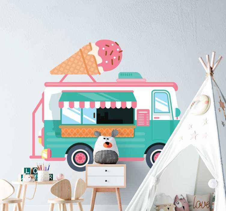 TenVinilo. Vinilo decorativo infantil dibujo camión de helados. Vinilo decorativo infantil de dibujo del camión de helados. Un alegre vinilo decorativo para tus hijos. Elige las medidas ¡Envío a domicilio!