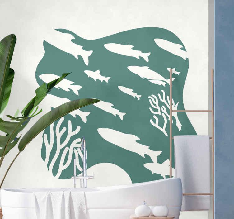 TenVinilo. Vinilo decorativo peces en coral dibujados. Vinilo peces para baño o la estancia que tú prefieras disponible en diferentes colores y tamaños. Elige medidas ¡Envío a domicilio!