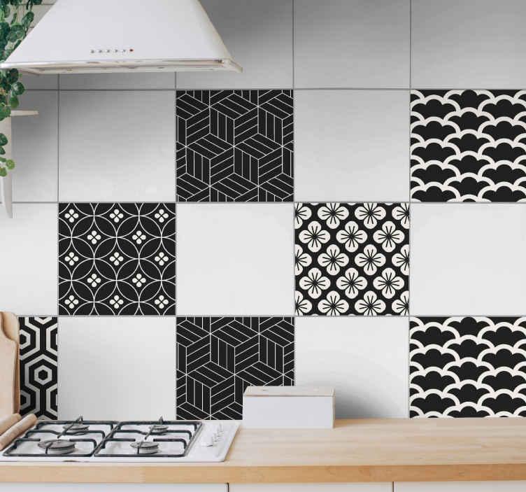 TenVinilo. Azulejos vinílicos patrón gris y blanco. Baldosas adhesivas para azulejos con motivos florales en gris y blanco. Perfectos para decorar tu cocina, baño o negocio ¡Envío a domicilio!