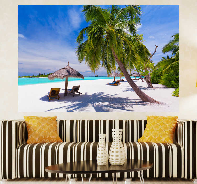 TENSTICKERS. パラダイス島のリビングルームの壁の装飾. あなたがいつも休暇を過ごしているように感じるなら、このステッカーはあなたにとって完璧です!それはヤシの木と美しい島を描いてあなたにぴったりのリビングルームやベッドルームです!