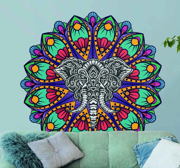TenVinilo. Vinilo decorativo mandala elefante colorido estilo indio. Un vinilo para pared mandala de arte tribal de una cabeza de elefante con un colorido diseño floral. Fácil de aplicar ¡Envío a domicilio!