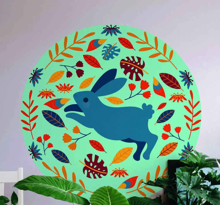 TenVinilo. Vinilo de animales granja conejo tenango. Un vinilo de animales de patrón redondo con un conejo corriendo. Es de fácil aplicación y de gran calidad ¡Envío a domicilio!