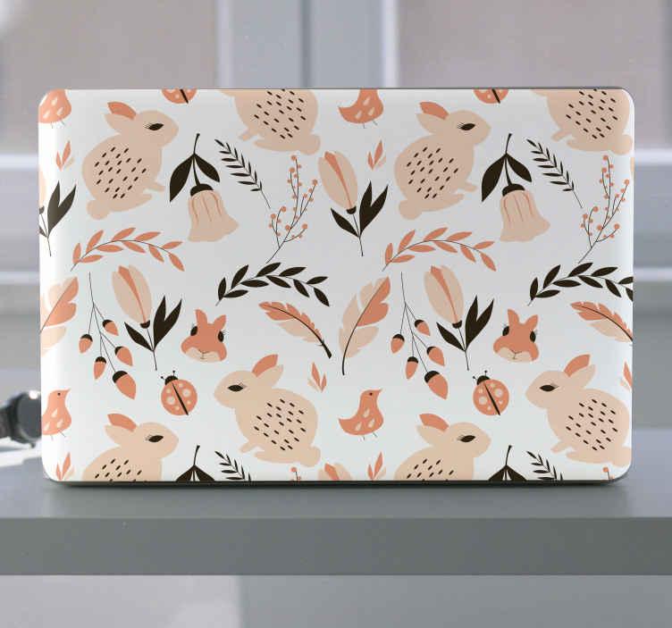 TenVinilo. Vinil para laptop conejos tenango tonos pastel. Hermoso vinilo ordenador portátil con flores y conejos en estilo tenago. Diseño con conejos, plantas y flores en estilo tenango ¡Envío a domicilio!