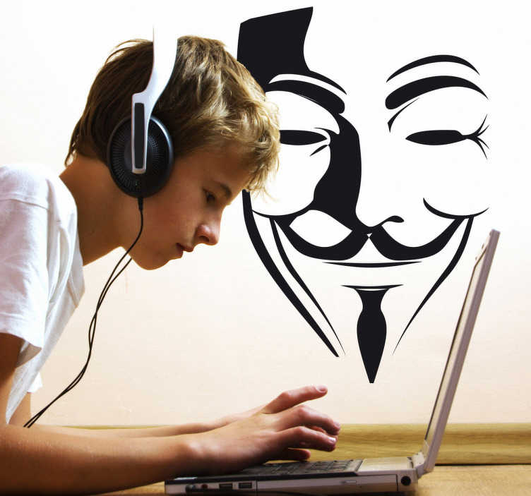 TenStickers. V wie Vendetta Maske Aufkleber. Hier finden Sie das Logo des international bekannten Hackernetzwerks Anonymous als Wandtattoo!