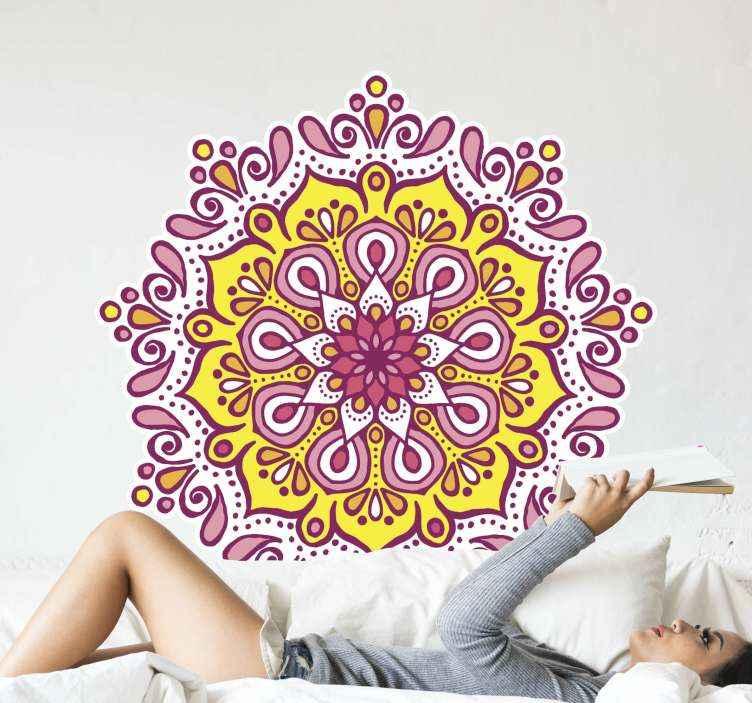 TenVinilo. Vinilo de mandala colorido rosa y amarillo. Vinilo decorativo mandala de color rosa y amarillo. Un diseño decorativo para cualquier superficie plana. Elige el tamaño ¡Envío a domicilio!