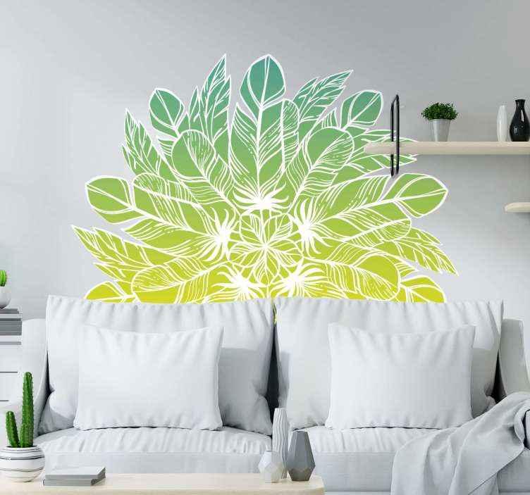 TenVinilo. Vinilo decorativo mandala con plumas tonos verdes. Decore su espacio con este vinilo mandala adhesivo para pared con estilo elegante en color verde y amarillo. Elige tamaño ¡Envío a domicilio!