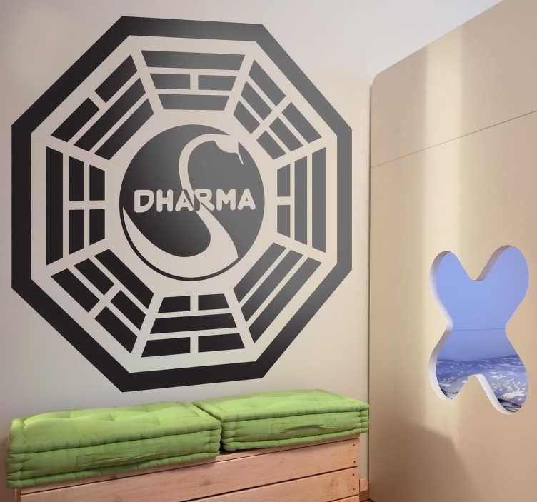 TenVinilo. Vinilo decorativo Dharma Lost. Adhesivo del logotipo de la iniciativa Dharma de la serie Lost. Si eres fan de esta reconocida serie con un final algo raro este vinilo debe ser tuyo.