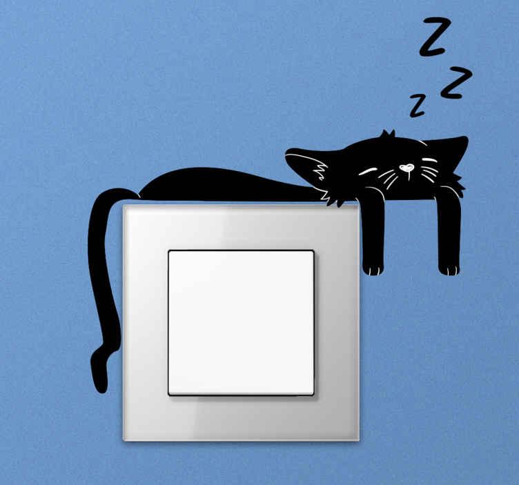 TenStickers. Vinil  para interruptor Gato preto. Projeto do vinil autocolante decorativo do interruptor da luz do gato preto para embelezar o espaço de qualquer espaço do interruptor. Fácil de aplicar e fabricado em vinil de alta qualidade.