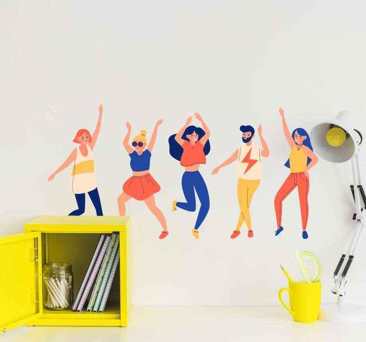TenStickers. Stickers voor op meubels Mensen dansen. Dansende mens meubelsticker. Het ontwerp bevat verschillende dansende mensen en het is echt kleurrijk. Makkelijk aan te brengen en van hoge kwaliteit.
