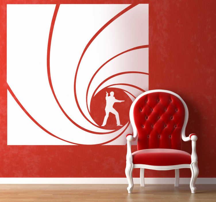 TenStickers. Sticker decorativo immagine James Bond. Adesivo murale con l'immagine distintiva che compare nei titoli di testa di tutti i film di 007.