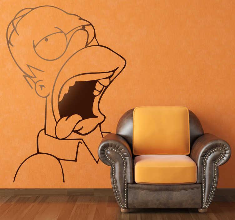 TenVinilo. Vinilo decorativo Homer Simpson borracho. Adhesivo del famoso padre de Bart y Lisa, un modelo que nunca deberíamos seguir. En este caso se le representa un poco ausente.
