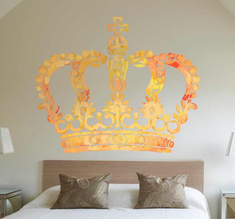 TenStickers. Sticker decoratie koninklijke kroon. Een muursticker van een koningskroon voor de decoratie van uw woning. Geef een leuke uitstraling aan je woning met deze wandsticker van een kroon.