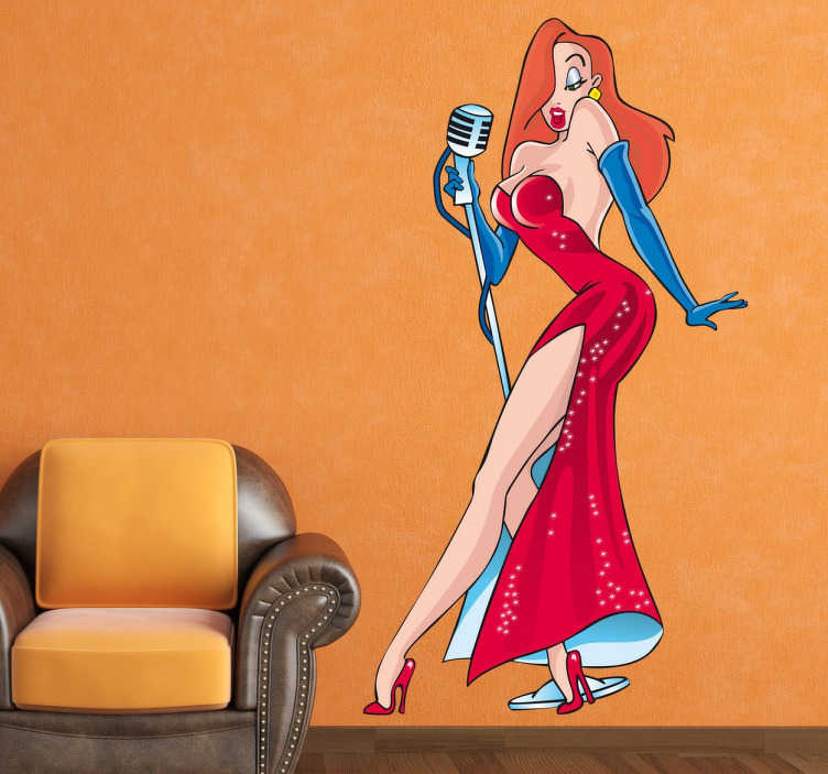 "TenStickers. Sticker film cartoon Jessica Rabbit. Een leuke muursticker gebaseerd op de film "" Who framed Roger Rabbit? Het sensuele en sexy personage "" Jessica Rabbit""."