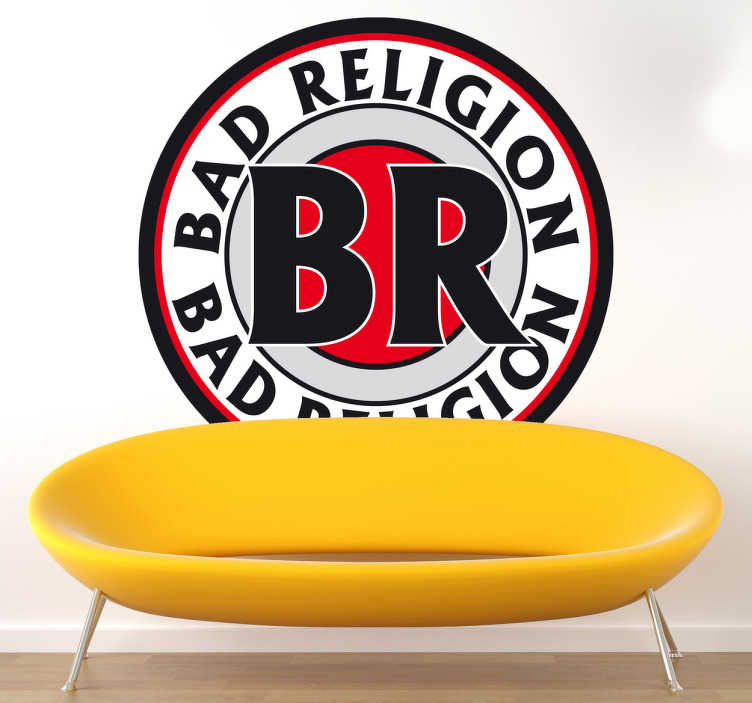 TenVinilo. Vinilo decorativo logo Bad Religion. Adhesivo del logotipo de esta famosa banda de punk rock estadounidense, para los fans de esta banda californiana.