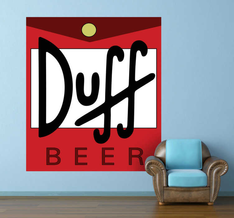 TenStickers. Sticker décoratif logo bière Duff. Logo adhésif de la bière préférée d'Homer Simpson.