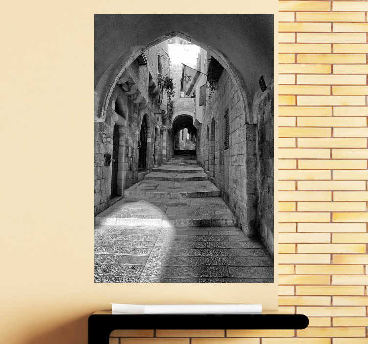 TenStickers. Ulice jeruzalémské samolepky nástěnné malby. Dáváte svému domovu a preferovanému místu svůj zvláštní osobitý dojem s touto úžasnou výzdobou fotografií z jeruzaléma v černé a bílé barvě.