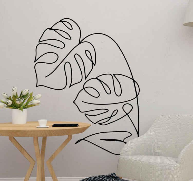 TenVinilo. Vinilo de plantas silueta hojas monstera. Vinilo pared salón de plantas monstera abastactas. El diseño es un dibujo y quedará estupendo en tu salón ¡Envío a domicilio!