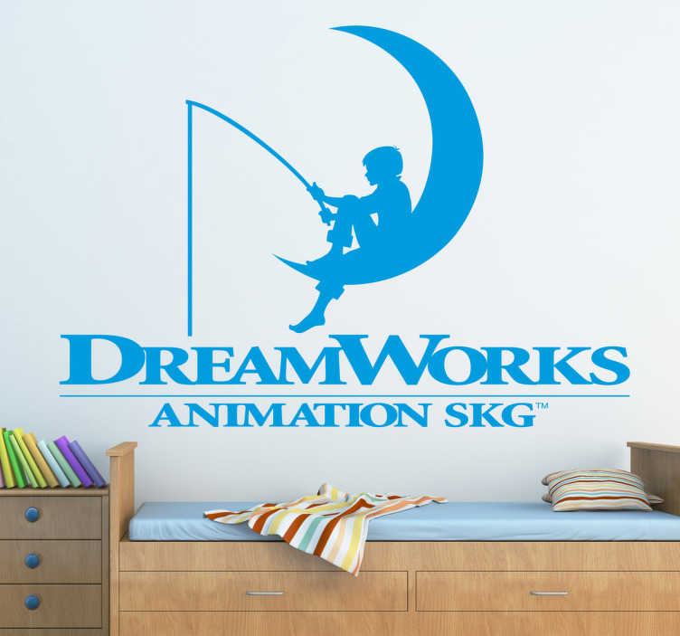 TenStickers. Sticker decorativo logo Dreamworks. Adesivo della casa di produzione di Steven Spielberg. Logo che rappresenta un bambino mentre pesca seduto sulla luna.