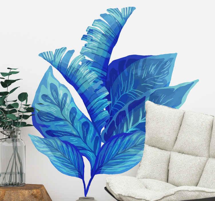 TenVinilo. Vinilo de plantas monstera azul clásico. Vinilo pared salón de plantas monstera de color azul. Una preciosa idea para el salón, fácil de aplicar y de calidad ¡Envío a domicilio!