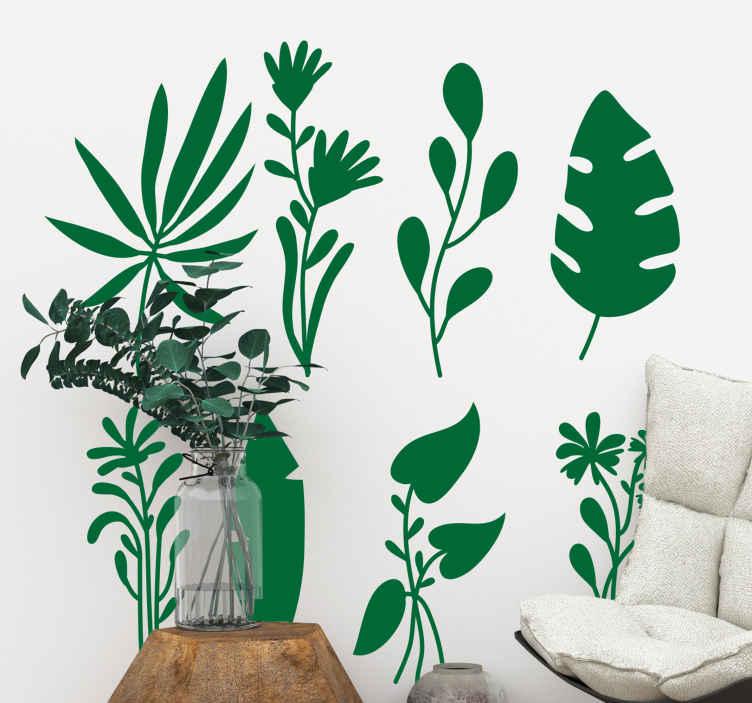 TenVinilo. Vinilo de plantas colección hojas tropicales. Vinilo pared salón de plantas tropicales mezcladas con plantas monsteras. Llene su hogar de naturaleza ahora ¡Envío a domicilio!