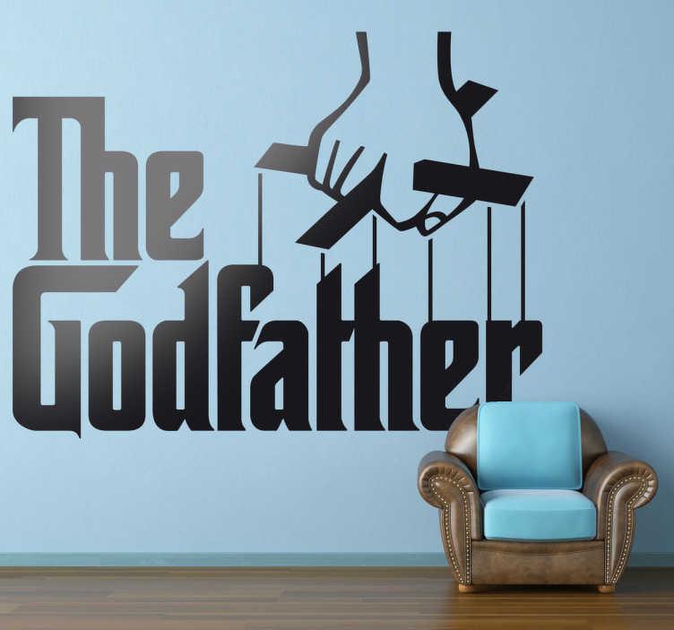 TenStickers. Sticker film logo the godfather. Een leuke muursticker gebaseerd op de trilogie van het leven van Don Corleone. Een wanddecoratie met het logo van deze maffia film, The Godfather.