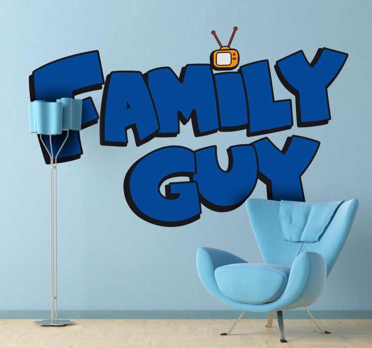 """TenStickers. Autocolantes decorativos de programas de TV Logo Family Guy. Personaliza a tua casa com este espetacular autocolante de programas de TV com o logotipo da série de comédia americana """"Family Guy""""."""