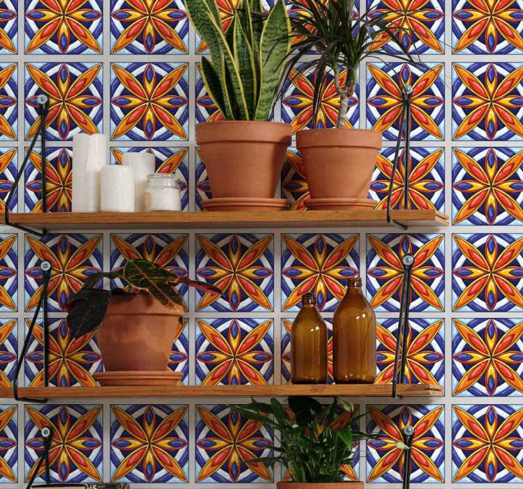 TenVinilo. Azulejos vinílicos flores portuguesas. ¿Está buscando azulejos vinilicos para mejorar cualquier estancia de una manera clásica? Este azulejo vinílico es para ti ¡Envío a domicilio!