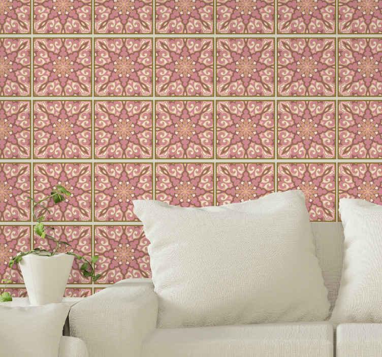 TenStickers. Adesivos azulejos Lindo pacote de flores rosa. Pacote decorativo de autocolante de azulejo de padrão floral rosa para casa de banhoe cozinha. Também adequado para uma sala de estar e outro espaço de escolha.