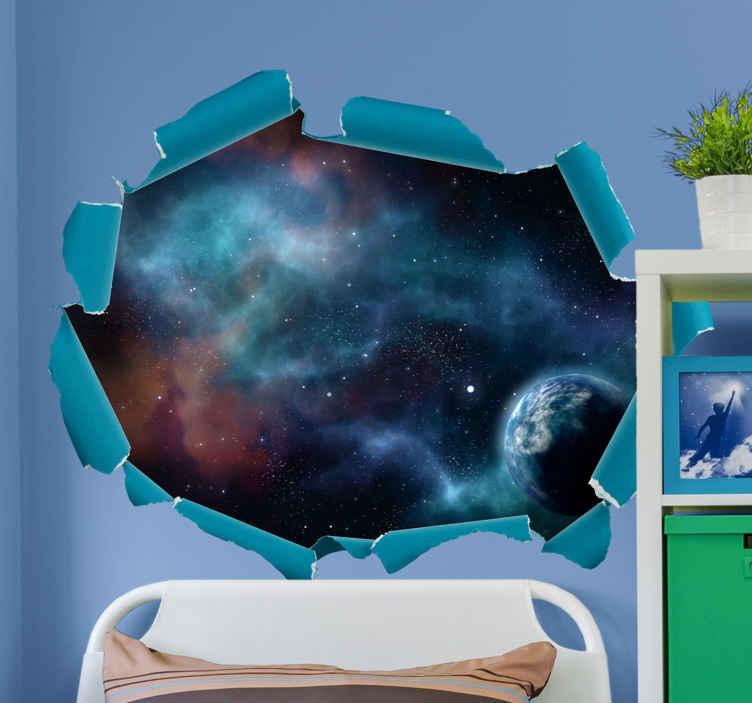 TenVinilo. Vinilo pared 3d vistas al espacio con nebulosa. Vinilo pared 3d original de la vista del universo con estrellas, planetas y otros elementos coloridos. Elige medidas ¡Envío a domicilio!