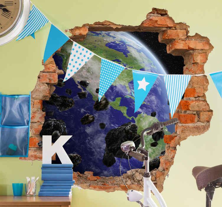 TenVinilo. Vinilo pared 3d espacio vistas tierra con meteoritos. Increíble vinilo infantil de meteorito óptico y tierra para decorar el cuarto de tus hijos con este diseño original ¡Envío a domicilio!