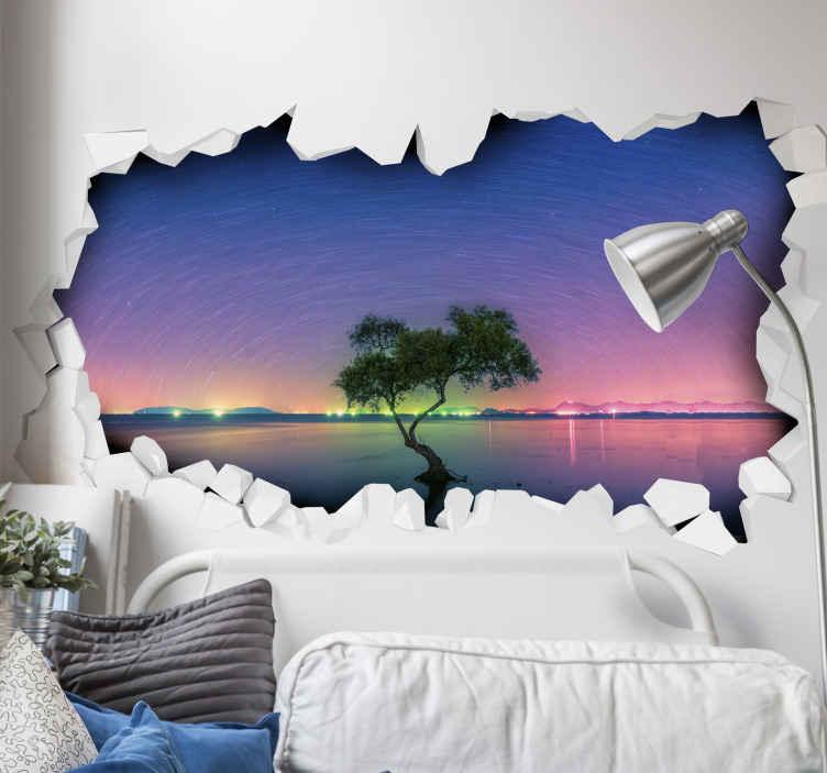 TENSTICKERS. 光学効果の宇宙は視覚効果の壁の装飾を反映. 光学ビューからの宇宙の装飾的な3d視覚効果デカール画像。デザインはオリジナルで、高品質のビニールで作られています。