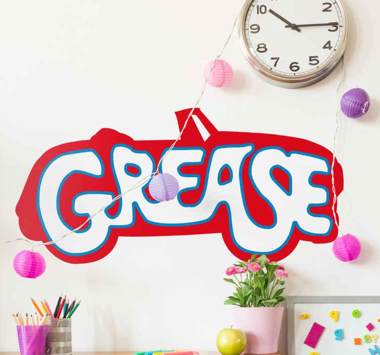 TenVinilo. Vinilo decorativo logo Grease color. Vinilo especial para los muchos aficionados que hay a este film musical protagonizado por Olivia Newton John y John Travolta.