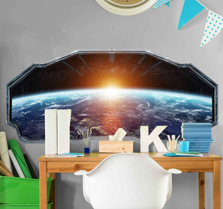 TenVinilo. Vinilo pared 3d vistas a la Tierra con destello solar. Decore el cuarto de su hijo con este vinilo infantil espacio 3d para pared con vistas a la Tierra con estrellas y el sol ¡Envío a domicilio!