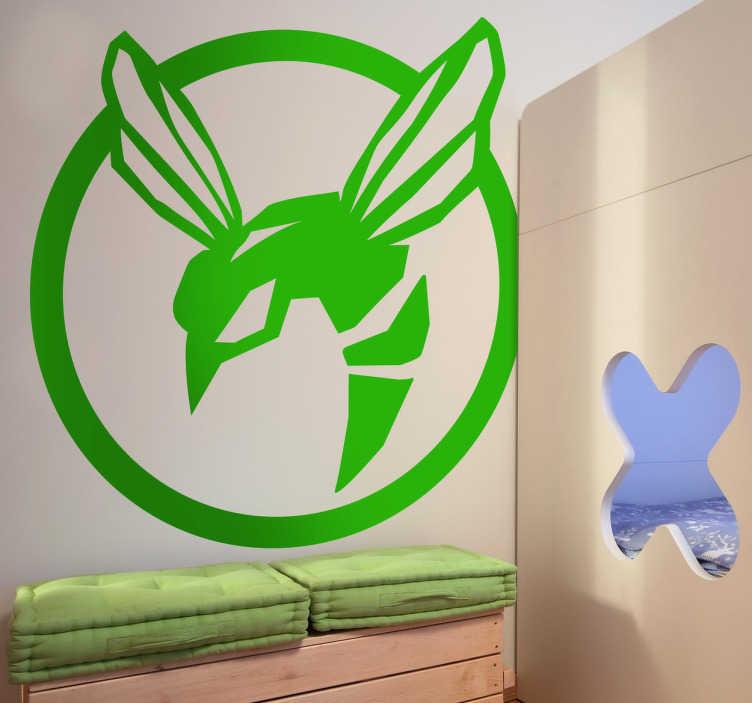 """TenStickers. Logo Green Hornet Sticker. Sticker des bekannten Films """"Green Hornet"""". Fantastischer Aufkleber für alle Fans von diesem Film. Dekorationsidee."""