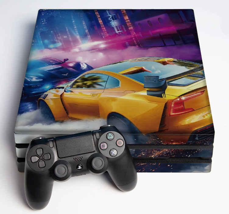 """TenVinilo. Vinilo PS4 la necesidad de la velocidad. Vinilo ps4 de """"La de necesidad de velocidad"""" con un hermoso tema de fondo para decorar cualquier consola o mando ¡Envío a domicilio!"""
