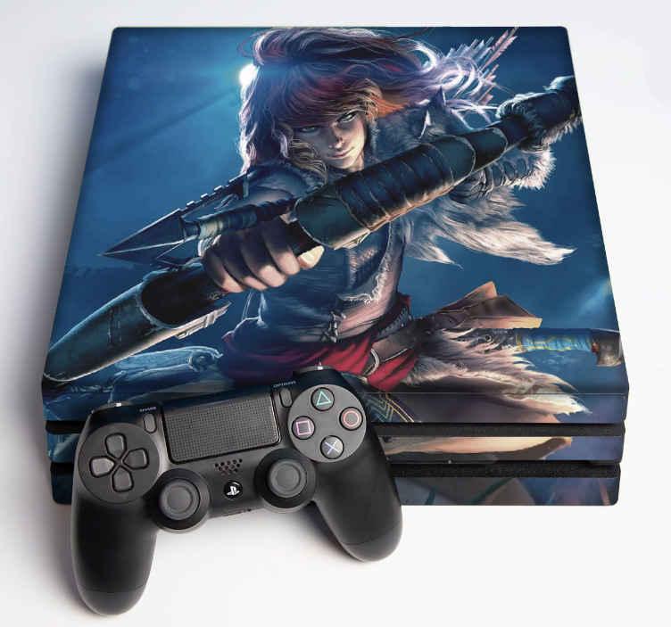TENSTICKERS. ホライゾンps4ステッカー. 矢を射る女性の戦闘機の元のイメージが付いている地平線の現実的な装飾的なビデオゲームps4デカール。それはオリジナルで自己接着です。