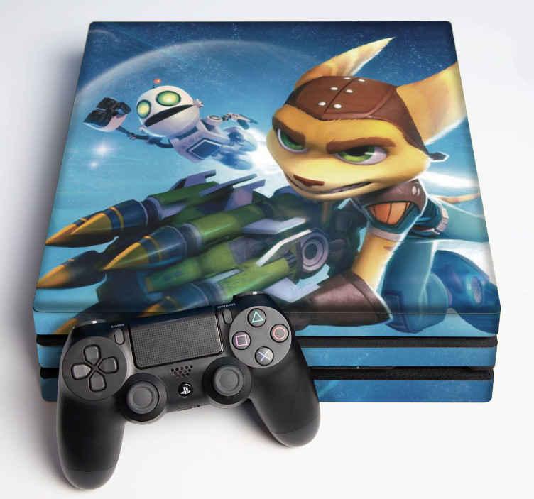 TENSTICKERS. ラチェットとクランクのps4ステッカー. デバイスの表面を包むラチェットとクランクの装飾的な現実的なビデオゲームコンソールのステッカー。オリジナルで簡単に適用できます。