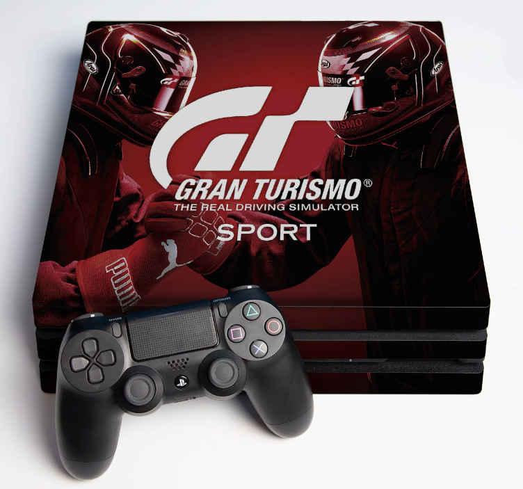 TENSTICKERS. グランツーリスモスポーツps4ステッカー. デバイスの表面を包むグランツーリスモスポーツの装飾的な現実的なビデオゲームコンソールのステッカー。それは高品質のビニールで作られています。